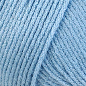 Skein of Berroco Comfort DK DK weight yarn in the color Blue Angel (Blue) for knitting and crocheting.