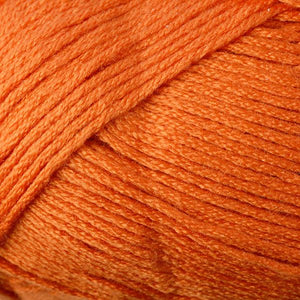 Skein of Berroco Comfort DK DK weight yarn in the color Kidz Orange (Orange) for knitting and crocheting.