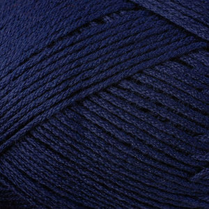Skein of Berroco Comfort DK DK weight yarn in the color Navy Blue (Blue) for knitting and crocheting.