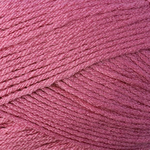 Skein of Berroco Comfort DK DK weight yarn in the color Rosebud (Pink) for knitting and crocheting.