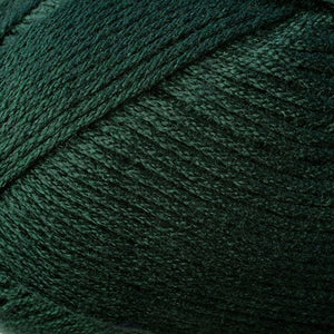 Skein of Berroco Comfort DK DK weight yarn in the color Spruce (Green) for knitting and crocheting.