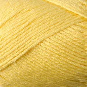 Skein of Berroco Comfort DK DK weight yarn in the color Sunshine (Yellow) for knitting and crocheting.