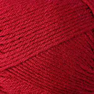 Skein of Berroco Comfort DK DK weight yarn in the color True Red (Red) for knitting and crocheting.