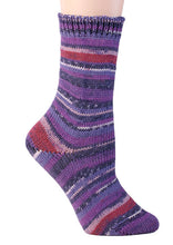 Load image into Gallery viewer, Skein of Berroco Comfort Sock Sock weight yarn in the color English Garden (Purple) for knitting and crocheting.