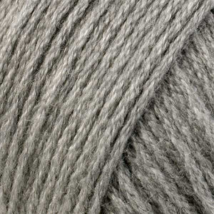Skein of Berroco Comfort Worsted Worsted weight yarn in the color Ash Gray (Gray) for knitting and crocheting.