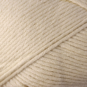 Skein of Berroco Comfort Worsted Worsted weight yarn in the color Barley (Tan) for knitting and crocheting.