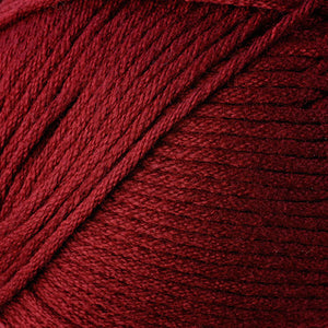 Skein of Berroco Comfort Worsted Worsted weight yarn in the color Beet Root (Red) for knitting and crocheting.