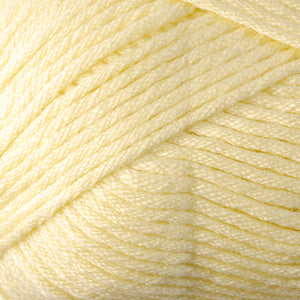 Skein of Berroco Comfort Worsted Worsted weight yarn in the color Buttercup (Yellow) for knitting and crocheting.