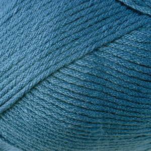 Skein of Berroco Comfort Worsted Worsted weight yarn in the color Cadet (Blue) for knitting and crocheting.