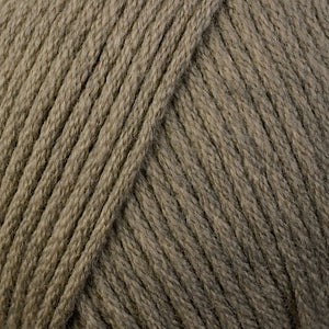 Skein of Berroco Comfort Worsted Worsted weight yarn in the color Driftwood Heather (Brown) for knitting and crocheting.