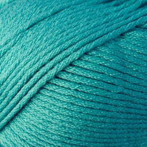 Skein of Berroco Comfort Worsted Worsted weight yarn in the color Dutch Teal  (Blue) for knitting and crocheting.