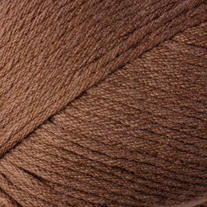 Skein of Berroco Comfort Worsted Worsted weight yarn in the color Falseberry Heather (Brown) for knitting and crocheting.