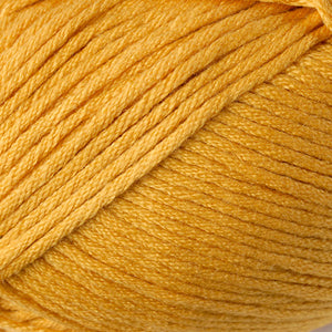 Skein of Berroco Comfort Worsted Worsted weight yarn in the color Goldenrod (Yellow) for knitting and crocheting.