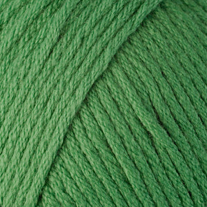 Skein of Berroco Comfort Worsted Worsted weight yarn in the color Grass (Green) for knitting and crocheting.