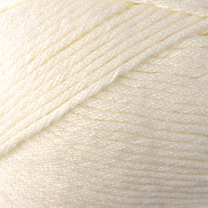 Skein of Berroco Comfort Worsted Worsted weight yarn in the color Ivory (Cream) for knitting and crocheting.