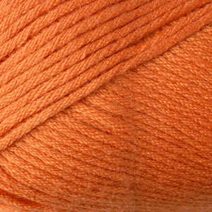 Skein of Berroco Comfort Worsted Worsted weight yarn in the color Kidz Orange (Orange) for knitting and crocheting.