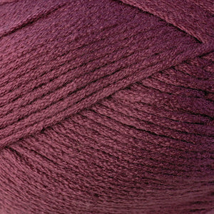 Skein of Berroco Comfort Worsted Worsted weight yarn in the color Lillet (Red) for knitting and crocheting.