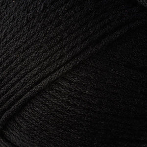 Skein of Berroco Comfort Worsted Worsted weight yarn in the color Liquorice (Black) for knitting and crocheting.
