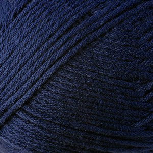 Skein of Berroco Comfort Worsted Worsted weight yarn in the color Navy Blue (Blue) for knitting and crocheting.