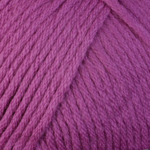Skein of Berroco Comfort Worsted Worsted weight yarn in the color Orchid (Purple) for knitting and crocheting.