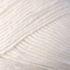 Skein of Berroco Comfort Worsted Worsted weight yarn in the color Pearl (Cream) for knitting and crocheting.