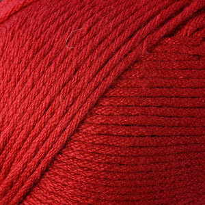 Skein of Berroco Comfort Worsted Worsted weight yarn in the color Primary Red (Red) for knitting and crocheting.