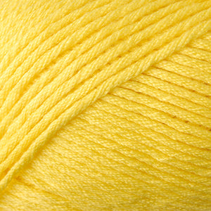 Skein of Berroco Comfort Worsted Worsted weight yarn in the color Primary Yellow (Yellow) for knitting and crocheting.
