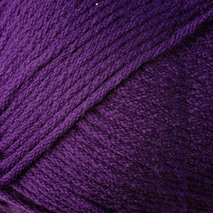Skein of Berroco Comfort Worsted Worsted weight yarn in the color Purple (Purple) for knitting and crocheting.
