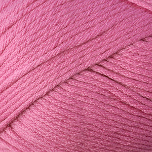 Skein of Berroco Comfort Worsted Worsted weight yarn in the color Rosebud (Pink) for knitting and crocheting.