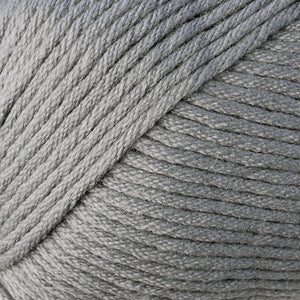 Skein of Berroco Comfort Worsted Worsted weight yarn in the color Smoke Stack (Gray) for knitting and crocheting.