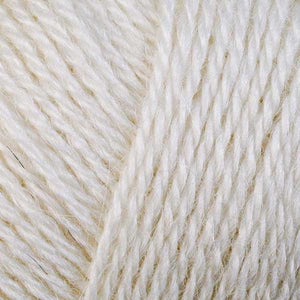 Skein of Berroco Folio DK weight yarn in the color Pearl (White) for knitting and crocheting.
