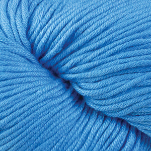 Skein of Berroco Modern Cotton Worsted weight yarn in color Abbot Run (Blue) for knitting and crocheting.