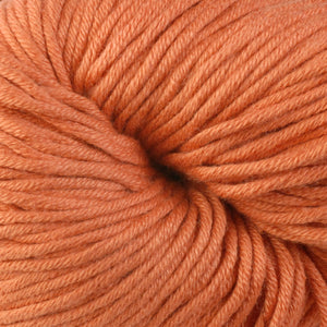 Skein of Berroco Modern Cotton Worsted weight yarn in color Arcade (Orange) for knitting and crocheting.