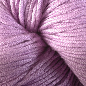 Skein of Berroco Modern Cotton Worsted weight yarn in color Brickley (Purple) for knitting and crocheting.