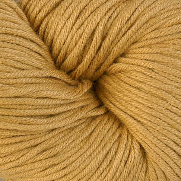 Skein of Berroco Modern Cotton Worsted weight yarn in color Coffee Milk (Yellow) for knitting and crocheting.