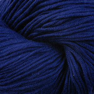Skein of Berroco Modern Cotton Worsted weight yarn in color Goddard (Blue) for knitting and crocheting.