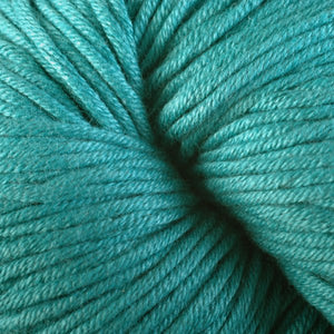 Skein of Berroco Modern Cotton Worsted weight yarn in color Mantuck (Blue) for knitting and crocheting.