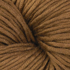 Skein of Berroco Modern Cotton Worsted weight yarn in color Maxwell (Brown) for knitting and crocheting.