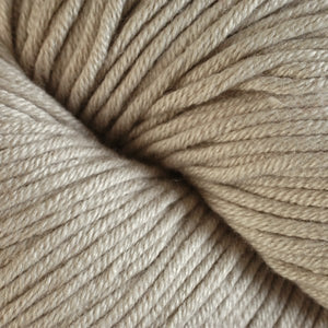 Skein of Berroco Modern Cotton Worsted weight yarn in color Piper (Tan) for knitting and crocheting.