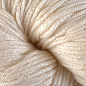 Skein of Berroco Modern Cotton Worsted weight yarn in color Sandy Point (Cream) for knitting and crocheting.
