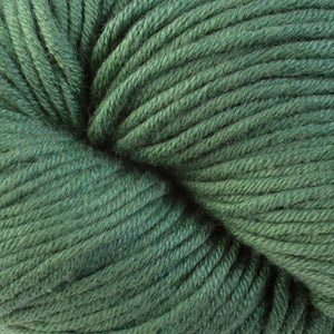 Skein of Berroco Modern Cotton Worsted weight yarn in color TF Green (Green) for knitting and crocheting.