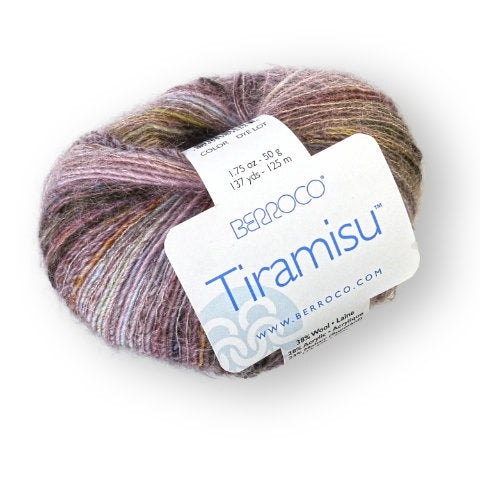 Skein of Berroco Tiramisu Lace weight yarn in the color Mascarpone (Tan) for knitting and crocheting.