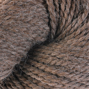 Skein of Berroco Ultra Alpaca Chunky Bulky weight yarn in the color Buckwheat (Brown) for knitting and crocheting.