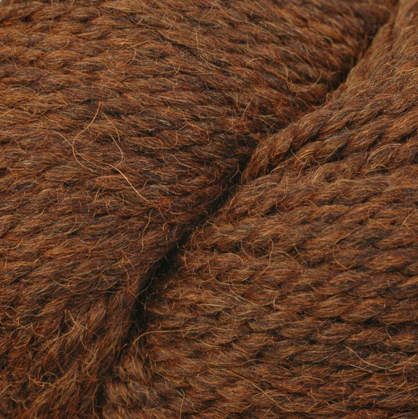Skein of Berroco Ultra Alpaca Chunky Bulky weight yarn in the color Potting Soil Mix (Brown) for knitting and crocheting.