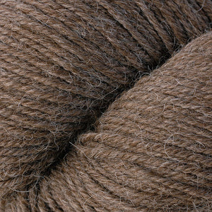 Skein of Berroco Ultra Alpaca Worsted weight yarn in the color Buckwheat (Brown) for knitting and crocheting.