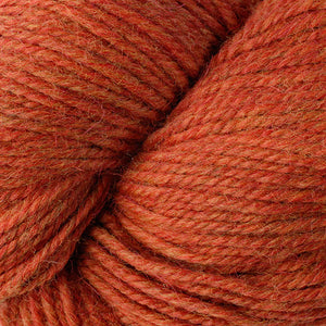 Skein of Berroco Ultra Alpaca Worsted weight yarn in the color Candied Yam Mix (Orange) for knitting and crocheting.