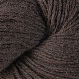 Skein of Berroco Ultra Alpaca Worsted weight yarn in the color Carob (Brown) for knitting and crocheting.