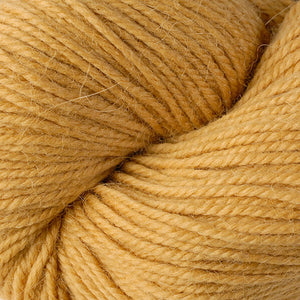 Skein of Berroco Ultra Alpaca Worsted weight yarn in the color Dijon (Yellow) for knitting and crocheting.