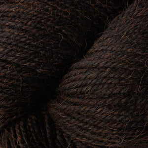 Skein of Berroco Ultra Alpaca Worsted weight yarn in the color Duncan (Brown) for knitting and crocheting.