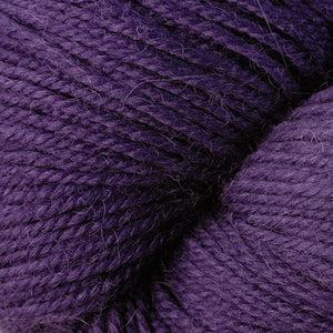 Skein of Berroco Ultra Alpaca Worsted weight yarn in the color Eggplant (Purple) for knitting and crocheting.